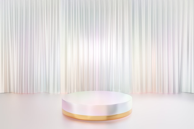 Cosmetic display product stand, gold white pearl color round cylinder podium reflection colorful on glossy white curtain background. 3d rendering illustration