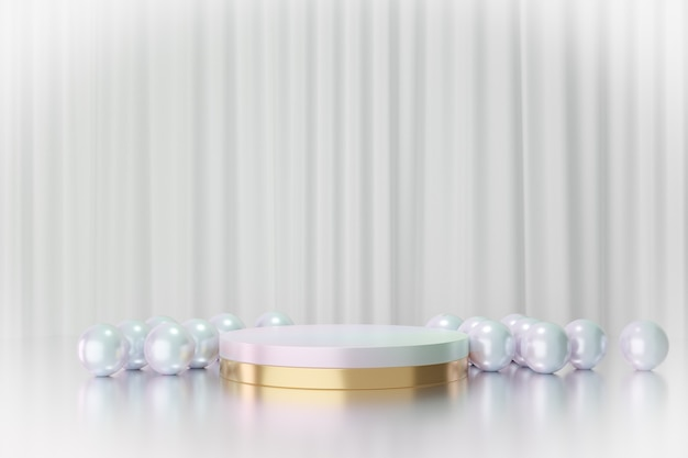 Cosmetic display product stand, gold white pearl color round cylinder podium with pearl beads reflection colorful on white curtain background. 3d rendering illustration
