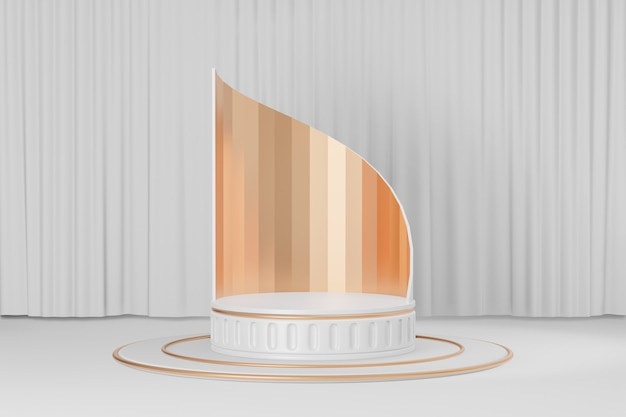 Cosmetic display product stand, gold white roman style round cylinder podium with gold curve wall on white curtain background. 3d rendering illustration