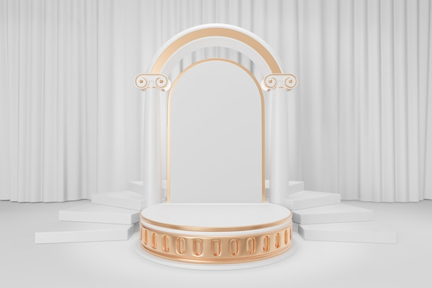 Cosmetic display product stand, gold white roman style round cylinder podium with roman column arch wall and stair on white curtain background. 3d rendering illustration