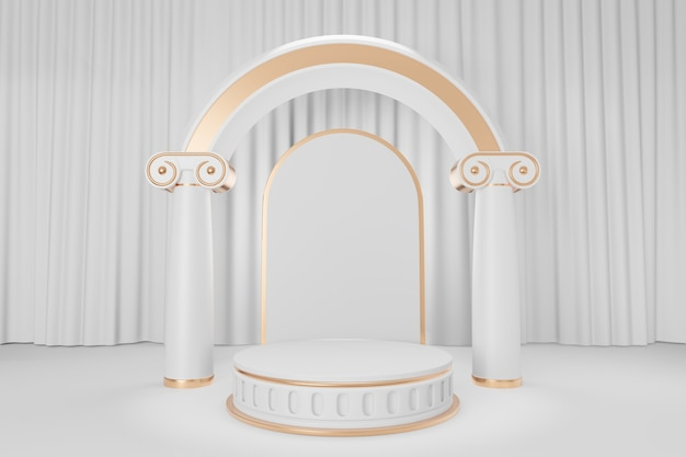 Cosmetic display product stand, gold white roman style round cylinder podium with roman column arch wall on white curtain background. 3d rendering illustration
