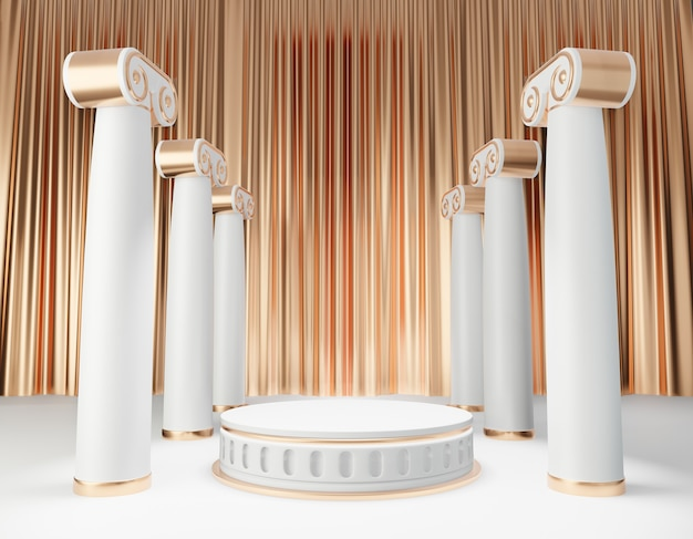 Cosmetic display product stand, gold white roman style round cylinder podium with roman column on gold curtain background. 3d rendering illustration