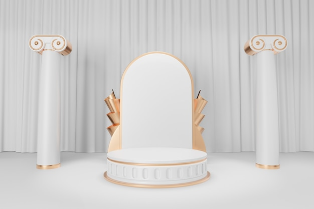 Cosmetic display product stand, gold white roman style round cylinder podium with roman column on white curtain background. 3d rendering illustration