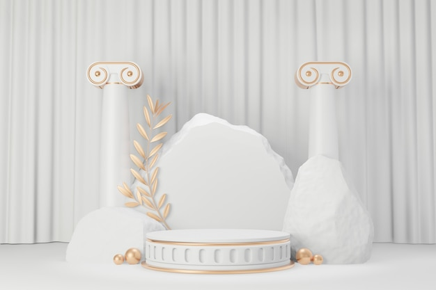 Cosmetic display product stand, gold white roman style round cylinder podium with stone rock and olive leaf on white curtain background. 3d rendering illustration