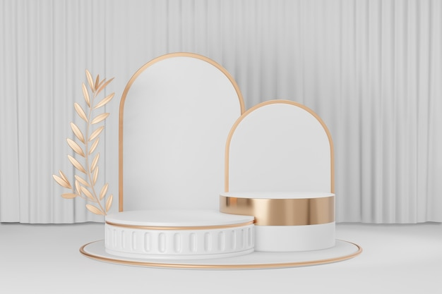 Cosmetic display product stand, gold white roman style round cylinder podium with white back and gold olive leaf on white curtain background. 3d rendering illustration