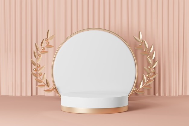 Cosmetic display product stand, gold white round cylinder podium with gold circle wall and gold olive leaf and old rose color pastel background. 3d rendering illustration