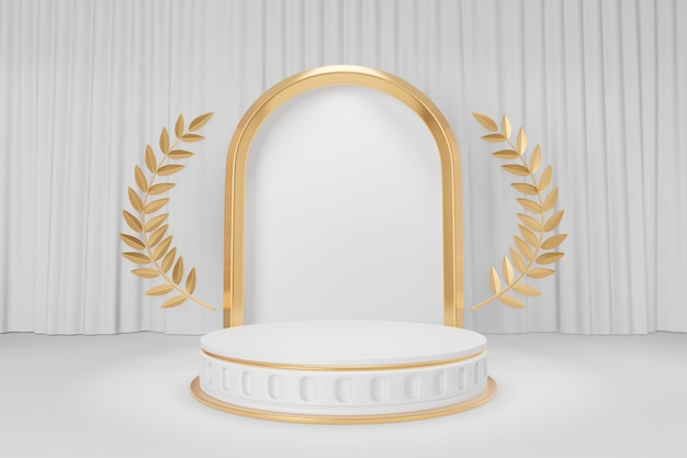 Cosmetic display product stand, gold white round cylinder podium with gold olive leaf and gold arch frame on white curtain background. 3d rendering illustration