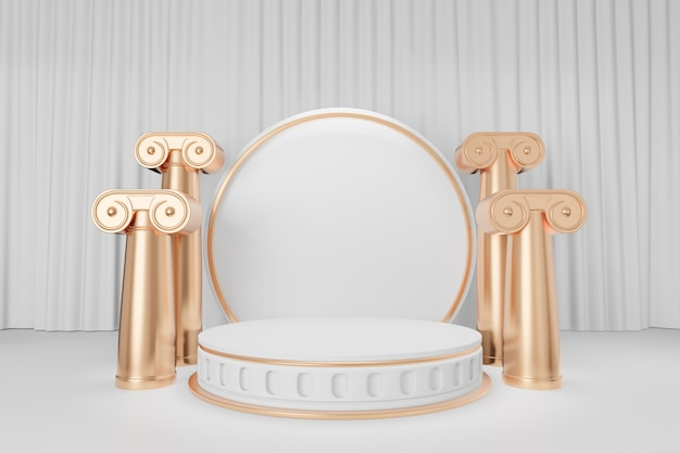 Cosmetic display product stand, gold white round cylinder podium with gold roman column on white curtain background. 3d rendering illustration