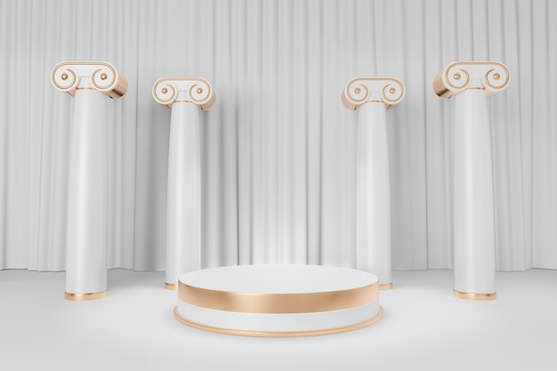 Cosmetic display product stand, gold white round cylinder podium with roman column on white curtain background. 3d rendering illustration