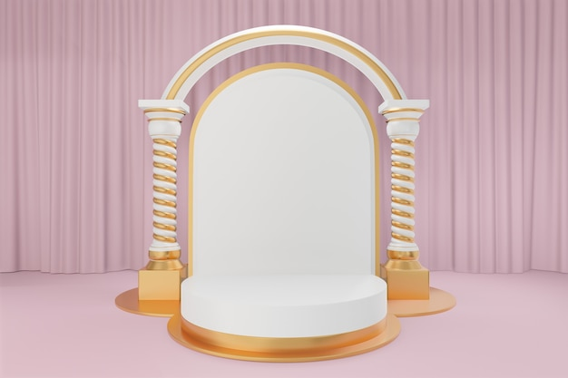 Cosmetic display product stand, gold white round cylinder podium with white gold arch greek columns and gold balloons on pink curtain background. 3d rendering illustration
