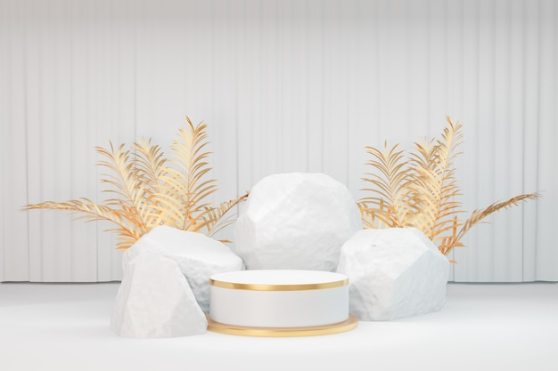 Cosmetic display product stand, gold white round cylinder podium with white stione and gold leaf plant on white curtain background. 3d rendering illustration
