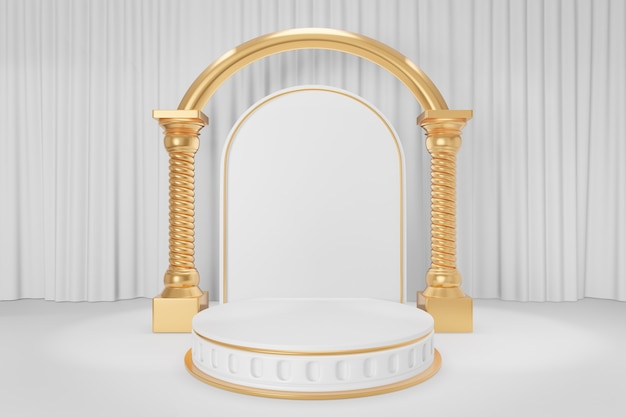 Cosmetic display product stand, gold white round roman style cylinder podium with gold arch greek columns on white curtain background. 3d rendering illustration