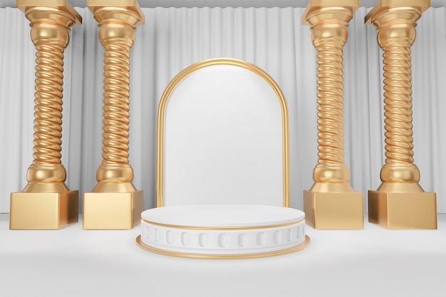 Cosmetic display product stand, gold white round roman style cylinder podium with gold greek columns on white curtain background. 3d rendering illustration