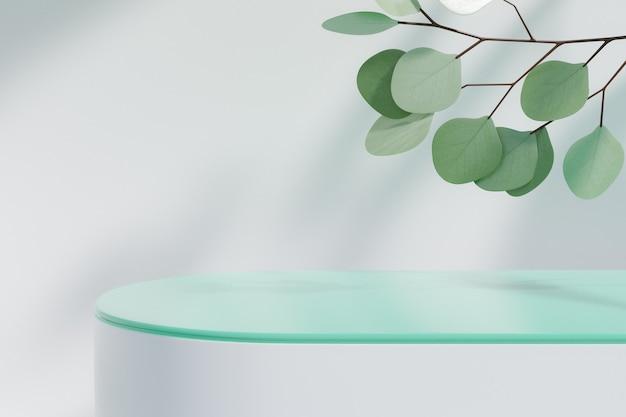 化粧品ディスプレイ製品スタンド、白いブロックの上の緑のガラスシリンダー表彰台と白い背景の上の緑の葉の植物。 3dレンダリングイラスト
