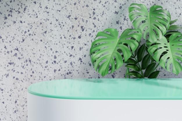 化粧品ディスプレイ製品スタンド、白いブロックの上の緑のガラスシリンダー表彰台と白い大理石の背景の上の緑の葉の植物。 3dレンダリングイラスト