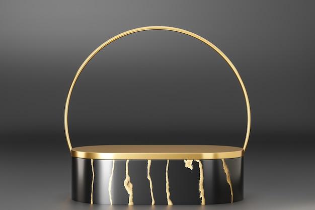 Косметический стенд продукта дисплея, подиум цилиндра мрамора черного золота с золотым кольцом на черной предпосылке. 3d визуализация иллюстрации