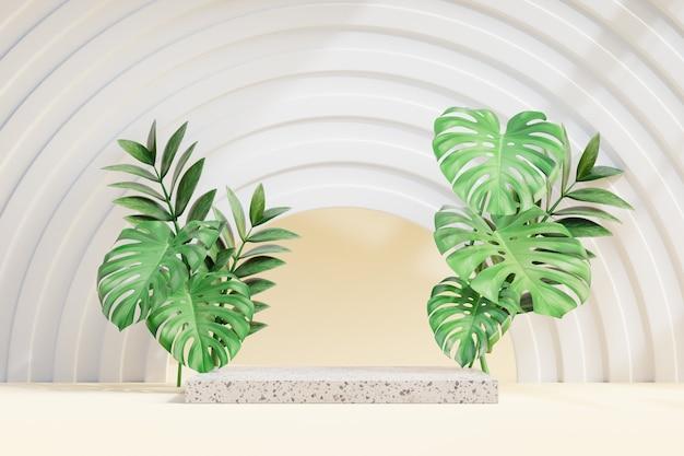 Косметическая стойка продукта дисплея, подиум из мраморных блоков с зеленым листом и стеной круга. 3d визуализация иллюстрации