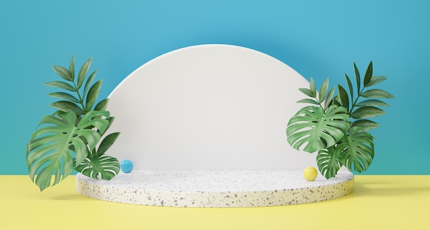 Cosmetic display product stand, marble white cylinder podium and green plant leaf on blue yellow background. 3d rendering illustration