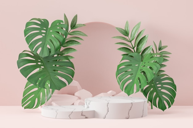 Cosmetic display product stand, marble white cylinder podium and stone and green plant leaf on pink background. 3d rendering illustration