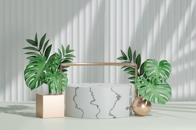 Косметическая стойка продукта дисплея, мраморный белый подиум цилиндра с золотой рамкой и зеленым листом растения на белой предпосылке. 3d визуализация иллюстрации