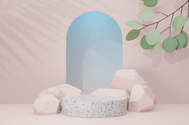 Cosmetic display product stand, marble white cylinder podium with stone and green leaf plant on pastel background. 3d rendering illustration