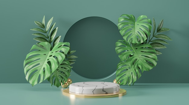 Cosmetic display product stand, marble white gold cylinder podium and green plant leaf on green background. 3d rendering illustration