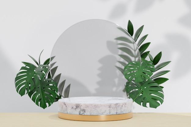 코스메틱 디스플레이 제품 스탠드, 원형 매트 유리 벽과 흰색 배경에 자연 잎이 있는 대리석 화이트 골드 실린더 연단. 3d 렌더링 그림