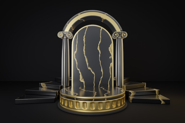 化粧品ディスプレイ製品スタンド、黒の背景に柱と階段のあるローマの大理石のブラックゴールドのシリンダー表彰台。 3dレンダリングイラスト