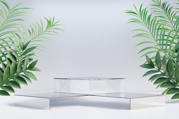 코스메틱 디스플레이 제품 스탠드, 밝은 배경에 자연 야자수 잎이 있는 투명한 유리 연단. 3d 렌더링 그림