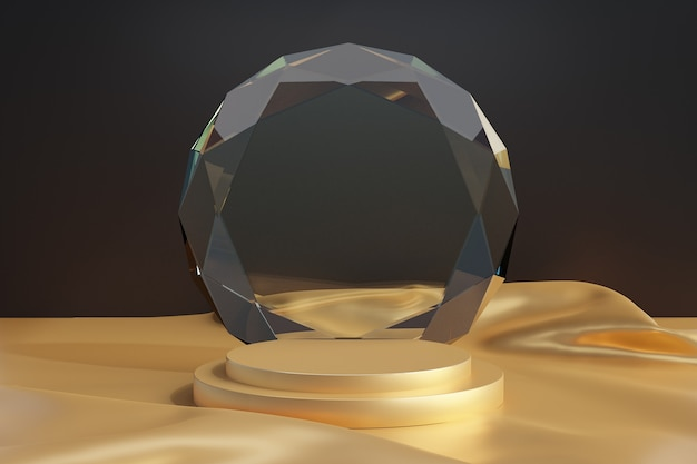 Косметическая витрина, ступенчатый золотой подиум с круговым алмазным стеклом и золотой тканевый пол на темном фоне. 3d визуализация иллюстрации