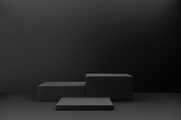 화장품 디스플레이 제품 스탠드. 어두운 배경에 3개의 검은색 블록입니다. 3d 렌더링 그림