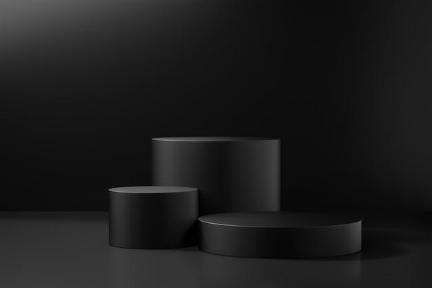 화장품 디스플레이 제품 스탠드. 어두운 배경에 세 개의 검은 실린더 연단입니다. 3d 렌더링 그림