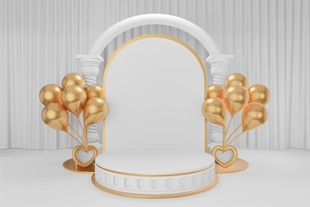 Cosmetic display product stand, three gold white round roman style cylinder podium with white arch greek columns and gold balloons on white curtain background. 3d rendering illustration