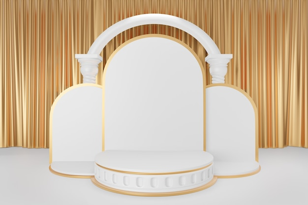 Cosmetic display product stand, three gold white round roman style cylinder podium with white arch greek columns on white curtain background. 3d rendering illustration