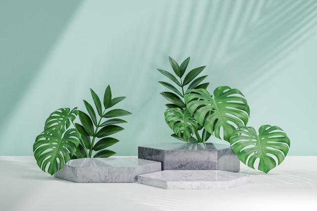 Косметическая стойка продукта дисплея, подиум 3 блоков шестиугольника с предпосылкой зеленых листьев. 3d визуализация иллюстрации
