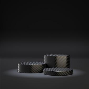 화장품 디스플레이 제품 스탠드. 3개의 케블라 텍스처는 어두운 배경에 검은 실린더 연단을 서 있습니다. 3d 렌더링 그림