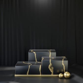 코스메틱 디스플레이 제품 스탠드, 검은색 바탕에 3개의 대리석 블랙 골드 블록 연단. 3d 렌더링 그림