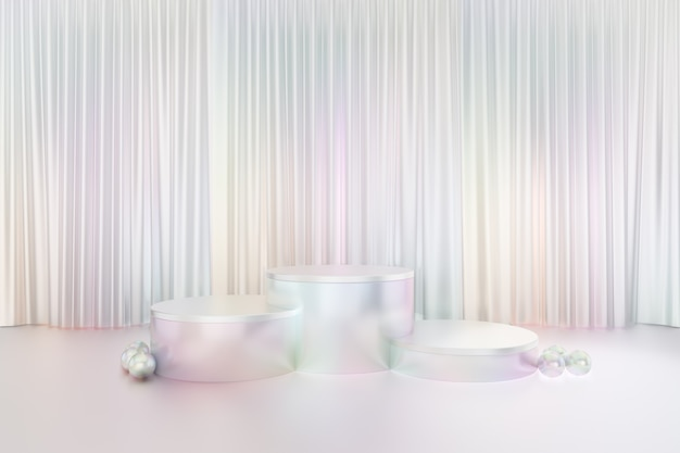 Cosmetic display product stand, three white pearl color round cylinder podium reflection colorful on glossy white curtain background. 3d rendering illustration