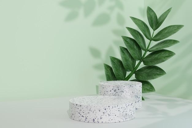 코스메틱 디스플레이 제품 스탠드, 녹색 잎 배경이 있는 2개의 콘크리트 원형 실린더 연단. 3d 렌더링 그림