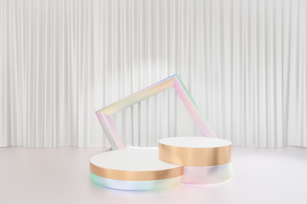 Cosmetic display product stand, two gold white pearl color round cylinder podium reflection colorful on glossy white curtain background. 3d rendering illustration