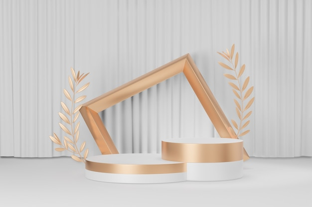 Cosmetic display product stand, two gold white round cylinder podium with gold frame and gold olive leaf on white curtain background. 3d rendering illustration