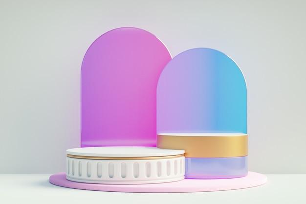 化粧品ディスプレイ製品スタンド、白い背景に紫色のアーチガラスと2つのローマの白いシリンダー表彰台。 3dレンダリングイラスト