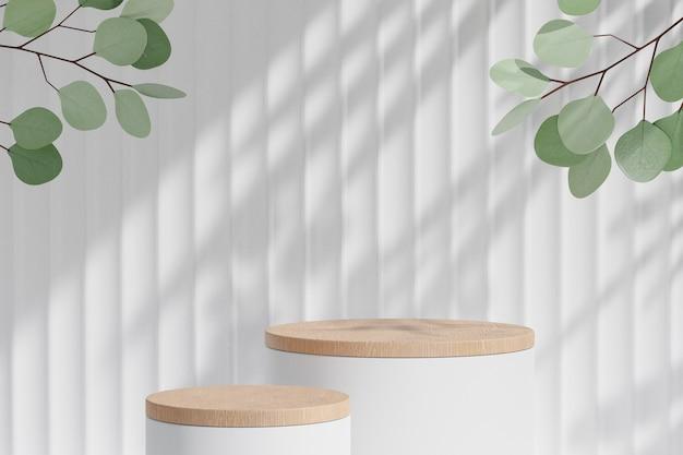 화장품 디스플레이 제품 스탠드, 두 개의 흰색 나무 실린더 연단 및 흰색 배경에 녹색 잎 식물. 3d 렌더링 그림