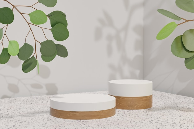 Cosmetic display product stand, two white wood cylinder podium and green leaf plant on blue background. 3d rendering illustration
