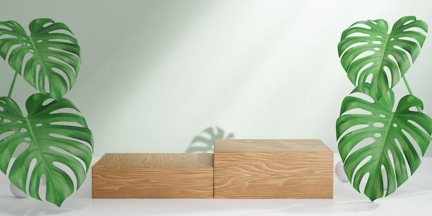 Косметическая стойка продукта дисплея, подиум 2 деревянных блоков с предпосылкой зеленых листьев. 3d визуализация иллюстрации