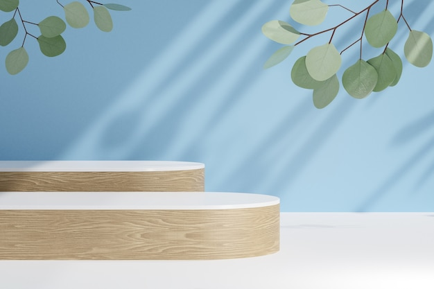 Cosmetic display product stand, two wood cylinder bar podium and green leaf plant on blue background. 3d rendering illustration