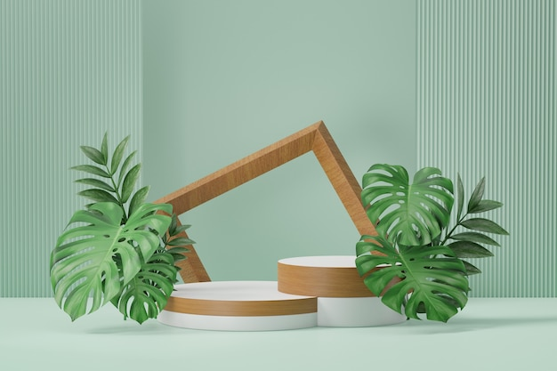 Cosmetic display product stand, two wood white cylinder podium with wood frame and green plant leaf on green background. 3d rendering illustration