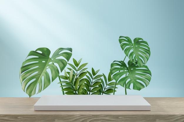 코스메틱 디스플레이 제품 스탠드, 녹색 잎 배경이 있는 나무 보드에 흰색 블록. 3d 렌더링 그림