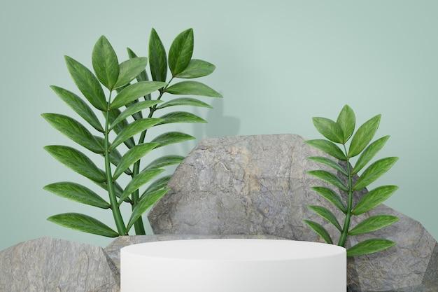 Косметическая стойка продукта дисплея, белый цилиндр и каменный подиум с предпосылкой листа. 3d визуализация иллюстрации