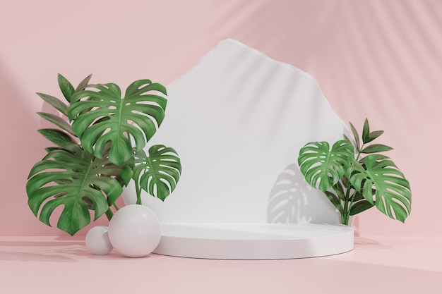 Cosmetic display product stand, white cylinder podium with white stone and monstera leaf set wall on pink background. 3d rendering illustration